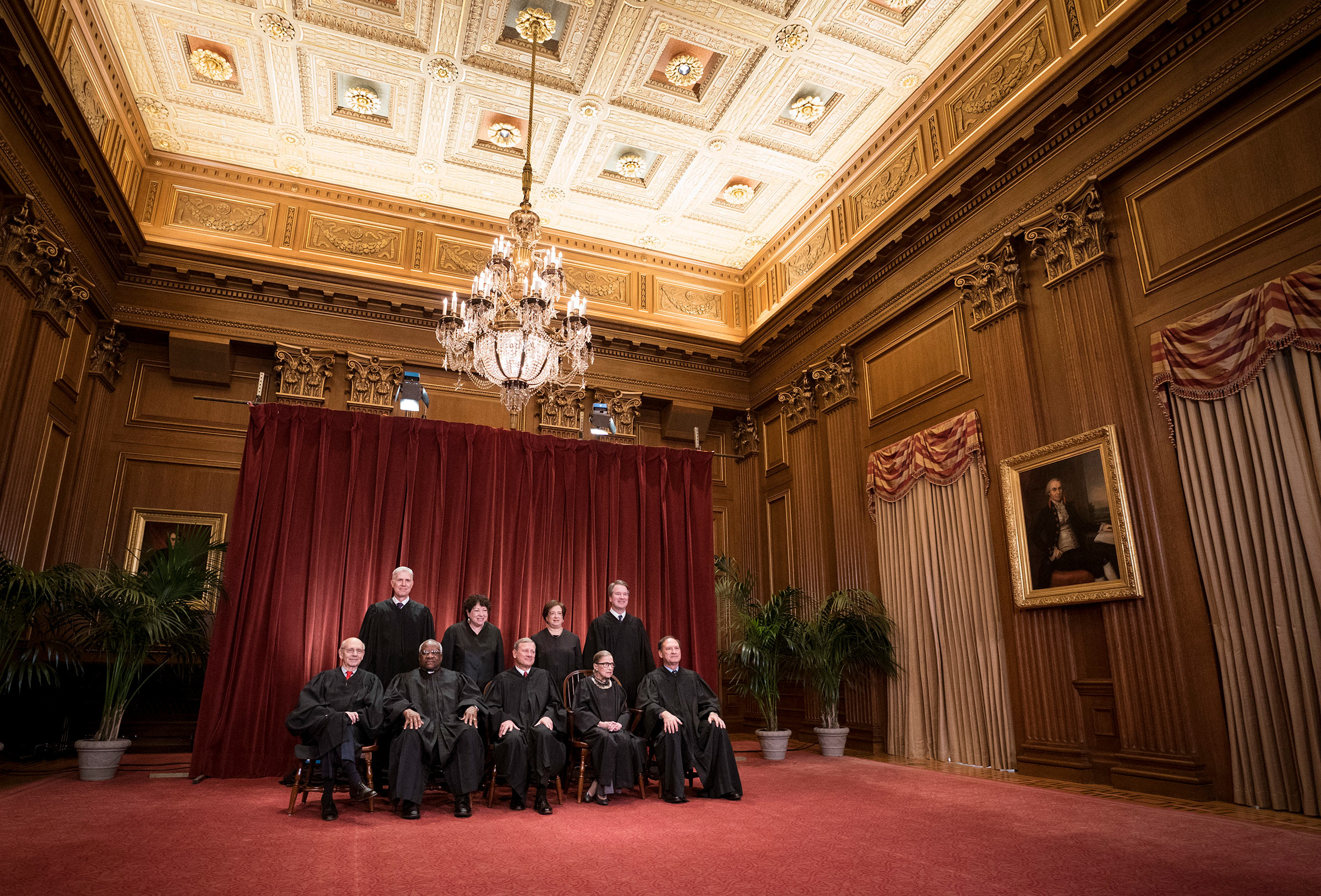 United States Supreme Court (Front L-R) Associate Justice Stephen Breyer, Associate Justice Clarence Thomas, Chief Justice John Roberts, Associate Justice Ruth Bader Ginsburg, Associate Justice Samuel Alito, Jr., (Back L-R) Associate Justice Neil Gorsuch, Associate Justice Sonia Sotomayor, Associate Justice Elena Kagan and Associate Justice Brett Kavanaugh pose for their official portrait at the in the East Conference Room at the Supreme Court building November 30, 2018 in Washington, DC.