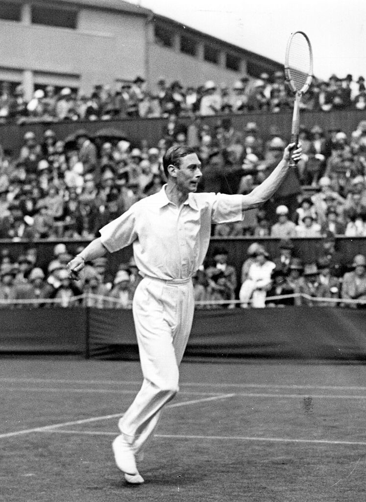 The Duke of York (later King George VI) competing in the All-England tennis championships at Wimbledon.