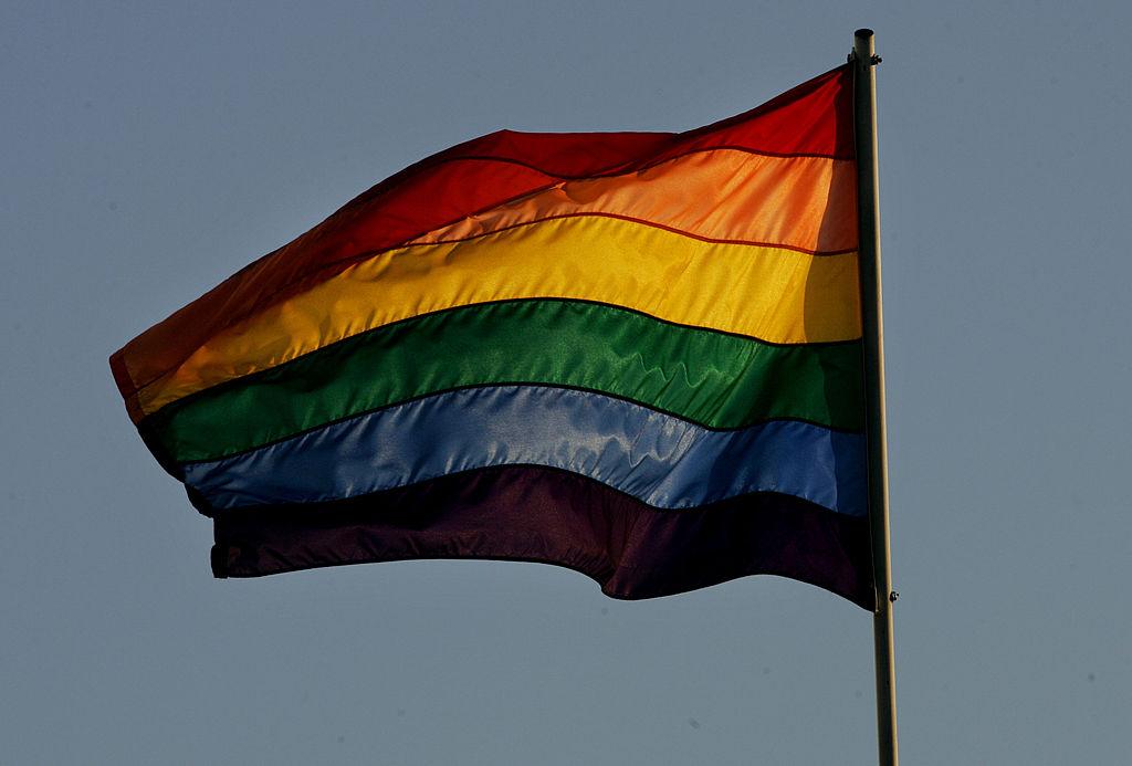 A rainbow flag flies above the San Diego Lesbian Gay Bisexual Transgender Community Center.