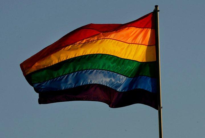 A rainbow flag waves in San Diego