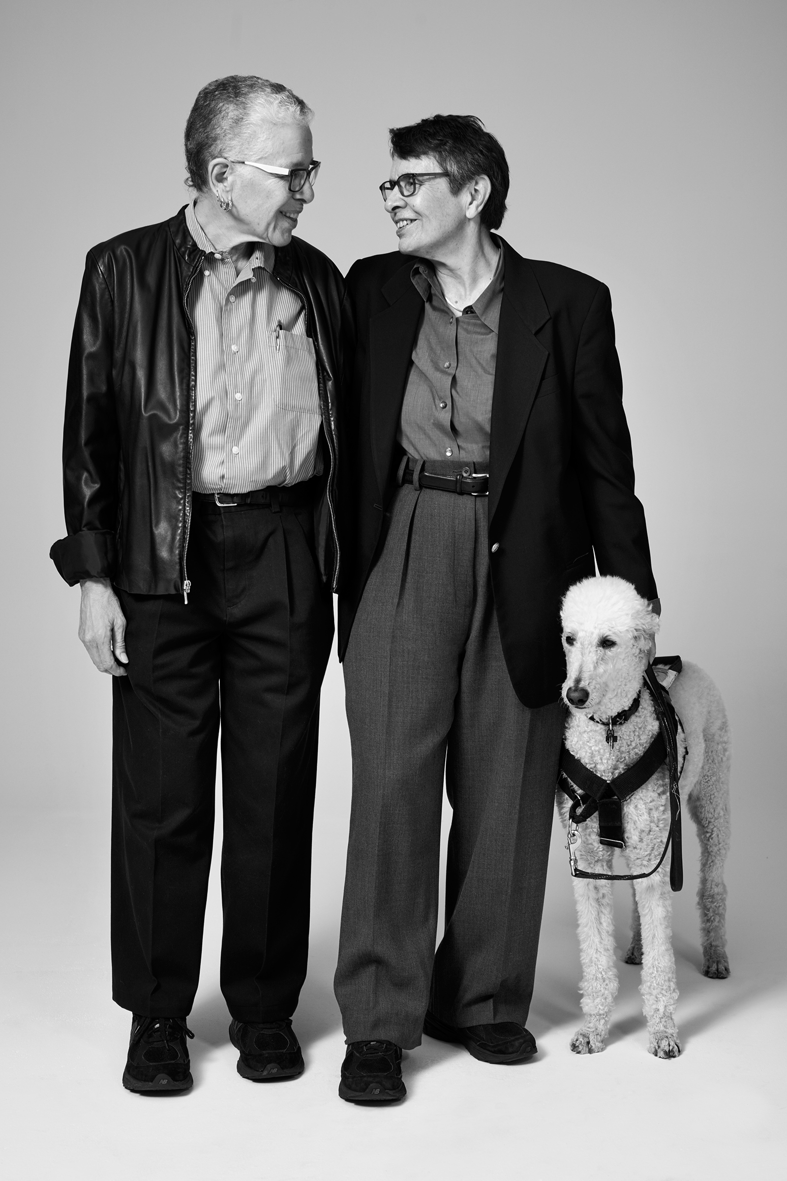 Things are really coming full circle. We saw an evolution in the direction of corporatization; now we're coming around to a more activist contemporary moment, toward a cry for seriousness and political activism as well as joy and celebration.  — Karla Jay, a professor emerita at Pace University, between her spouse Karen F. Kerner and her guide dog Duchess. Jay was an early member of the Gay Liberation Front.