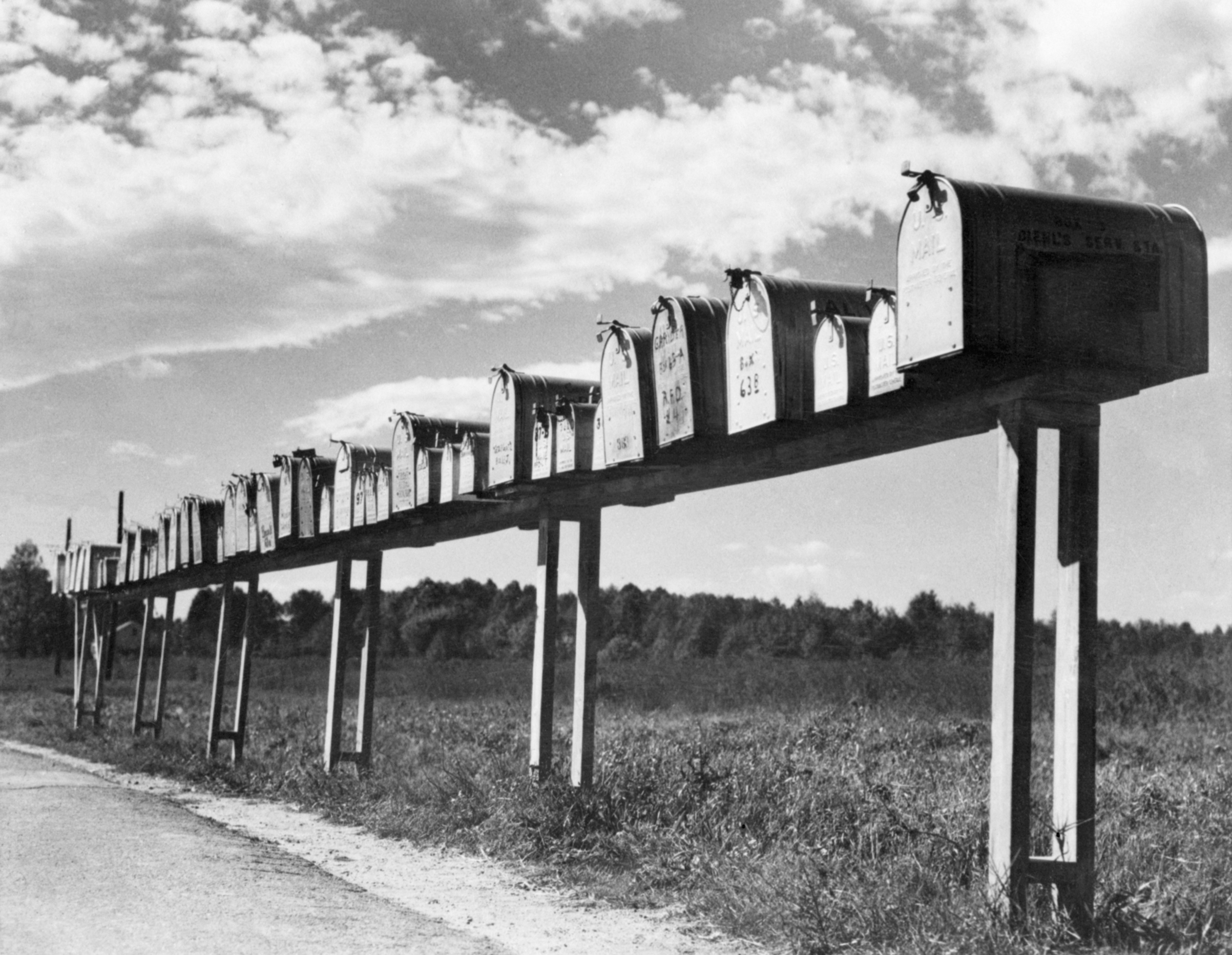 Mailboxes on a country road, circa 1940