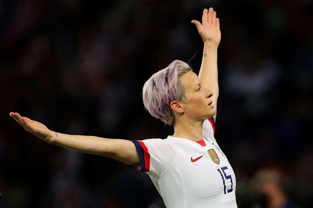 Megan Rapinoe of the USA celebrates after scoring her team's second goal during the 2019 FIFA Women's World Cup France Quarter Final match between France and USA at Parc des Princes on June 28, 2019 in Paris, France.