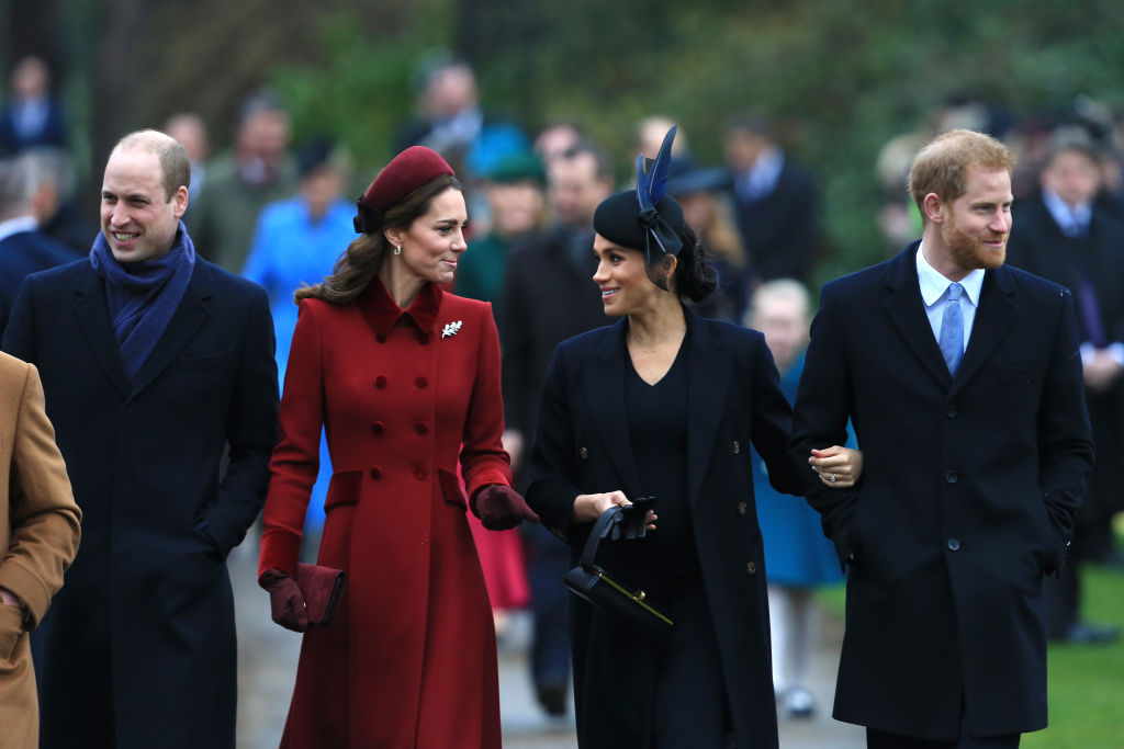 (L-R) Prince William, Duke of Cambridge, Catherine, Duchess of Cambridge, Meghan, Duchess of Sussex and Prince Harry, Duke of Sussex arrive to attend the Christmas Day Church service at the Church of St. Mary Magdalene on the Sandringham estate on December 25, 2018 in King's Lynn, England.
