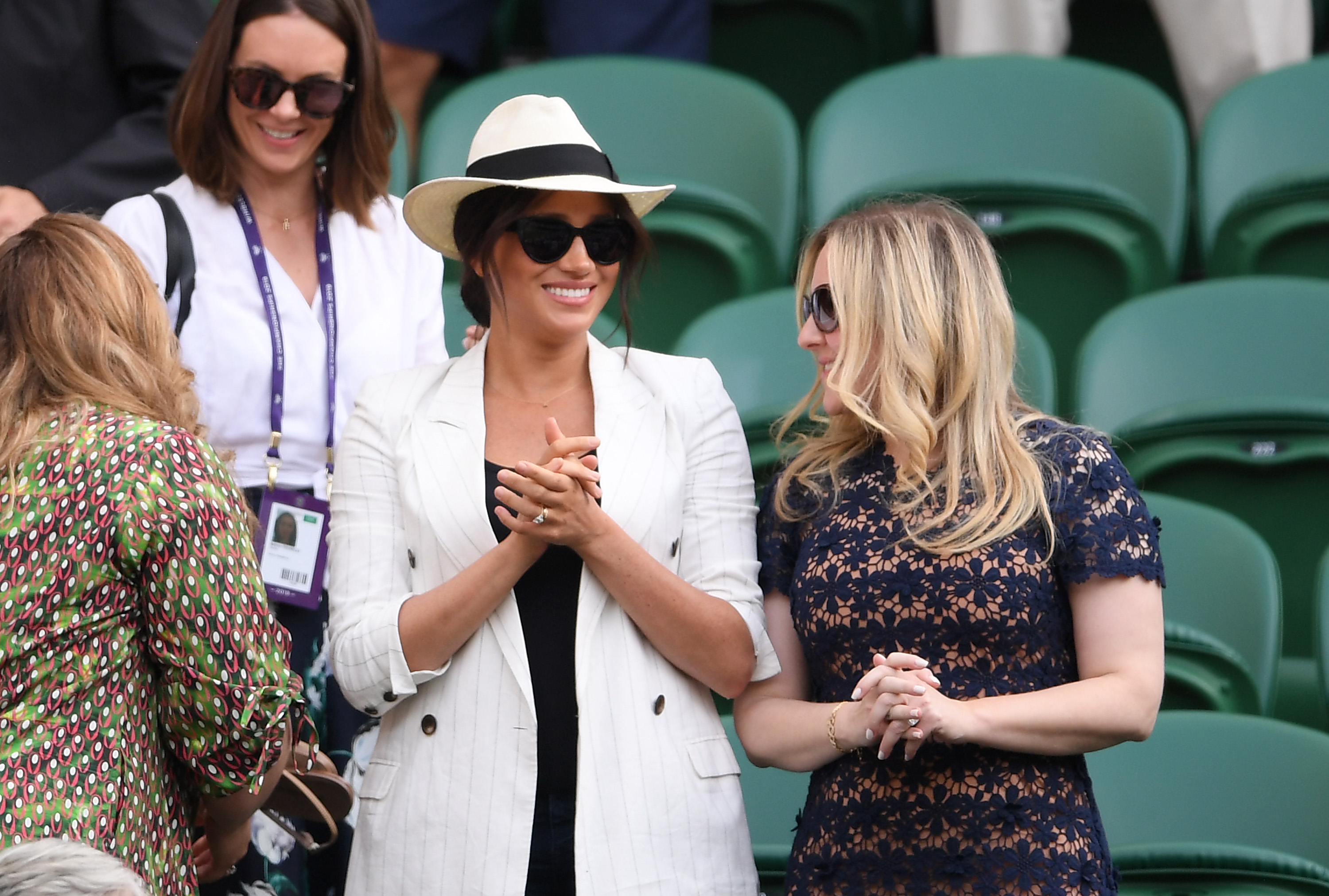 Meghan Markle, Duchess of Sussex watches on during the ladies' Singles Second round match between Serena Williams of The United States and Kaja Juvan of Slovenia during Day four of The Championships - Wimbledon 2019 at All England Lawn Tennis and Croquet Club on July 04, 2019 in London, England. (Photo by Laurence Griffiths/Getty Images)
