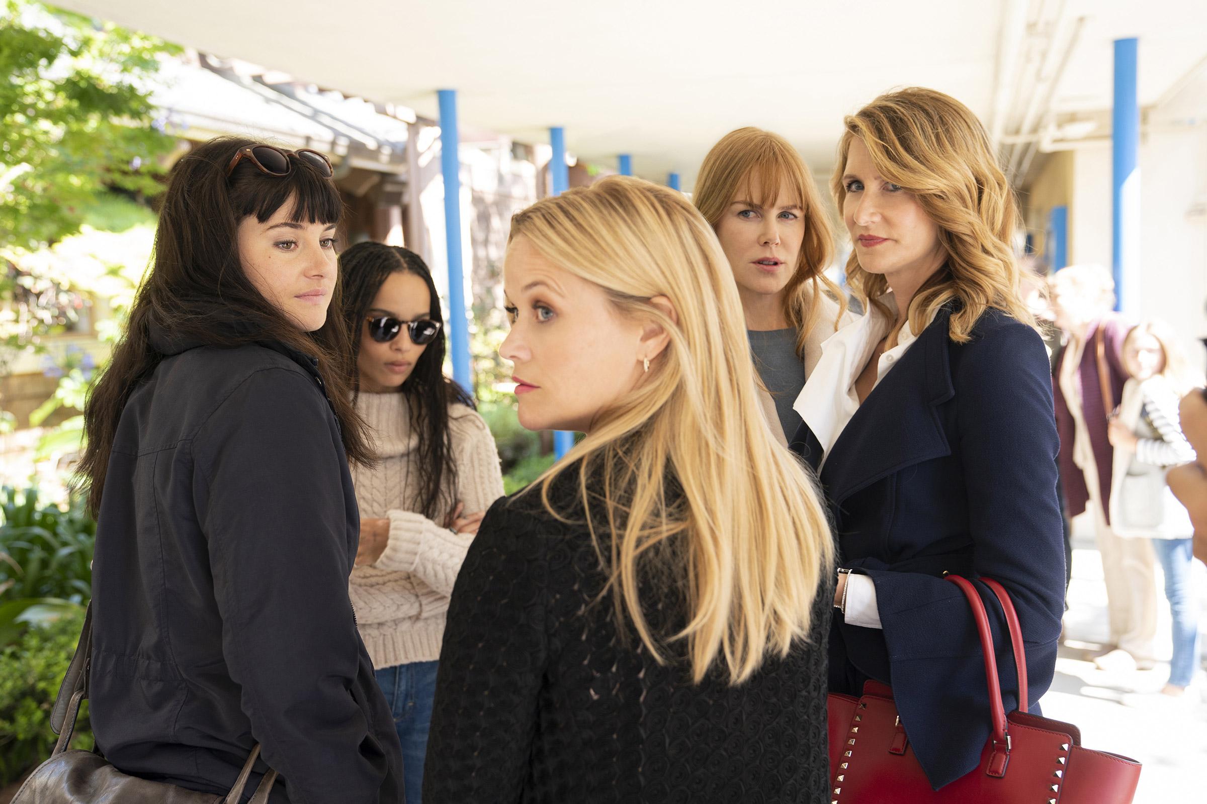 The Monterey Five—Jane (Woodley), Bonnie (Kravitz), Madeline (Witherspoon), Celeste (Kidman) and Renata (Dern)—return