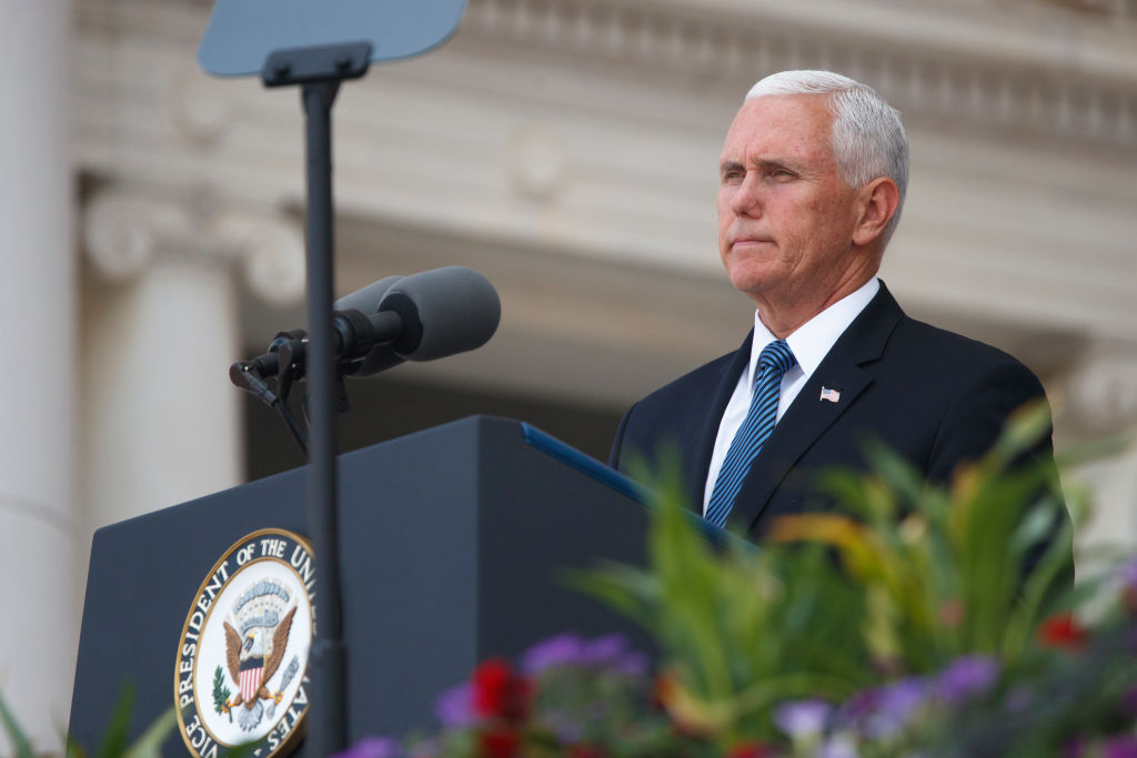 Vice President Mike Pence delivers remarks inside the Amphitheater during a Memorial Day event at Arlington National Cemetery in Arlington, Va., on May 27, 2019.