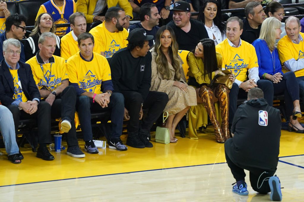 Jay-Z and Beyonce attend Game 3 of the 2019 NBA Finals between the Golden State Warriors and the Toronto Raptors at ORACLE Arena in Oakland, Calif. on June 5, 2019.