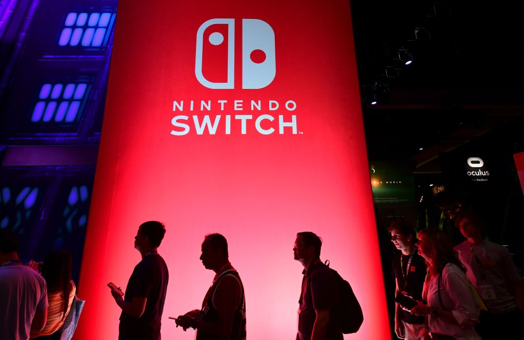 People wait in line for a chance to sample new games for Nintendo Switch at the 2019 Electronic Entertainment Expo, also known as E3, opening in Los Angeles, California on June 11, 2019.
