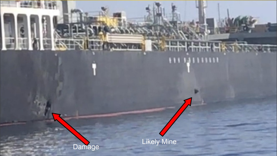 The images show what the U.S. military believes is an unexploded magnetic mine attached to the hull of the tanker M/T Kokuka Courageous following the attack on Thursday, June 13, 2019 in the Gulf of Oman.
