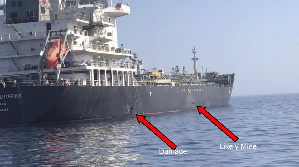 The U.S. military released this photo late Thursday, June 13, 2019 showing the oil tanker M/T Kokuka Courageous in the Gulf of Oman with damage and what is allegedly a limpet mine.