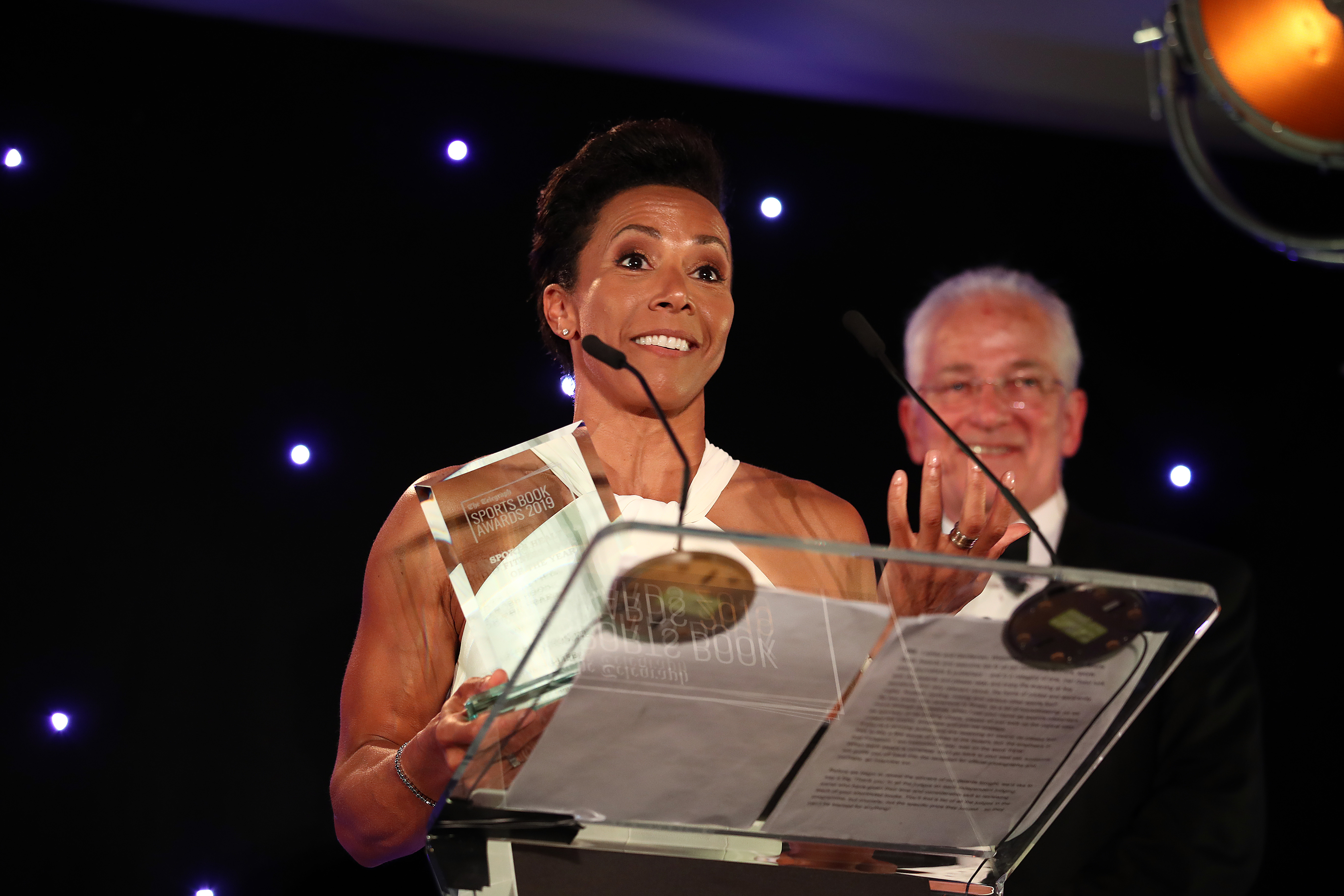 Winner of the Health &; Fitness Book of the Year, Dame Kelly Holmes makes her acceptance speech during the Sports Book Awards at Lord's Cricket Ground on June 04, 2019 in London, England. (Photo by Bryn Lennon/Getty Images for Sports Book Awards)