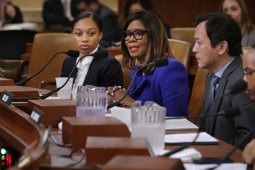 AMA President Patrice Harris (center) testifies before the House Ways and Means Committee about maternal mortality on May 16, 2019 in Washington, DC.