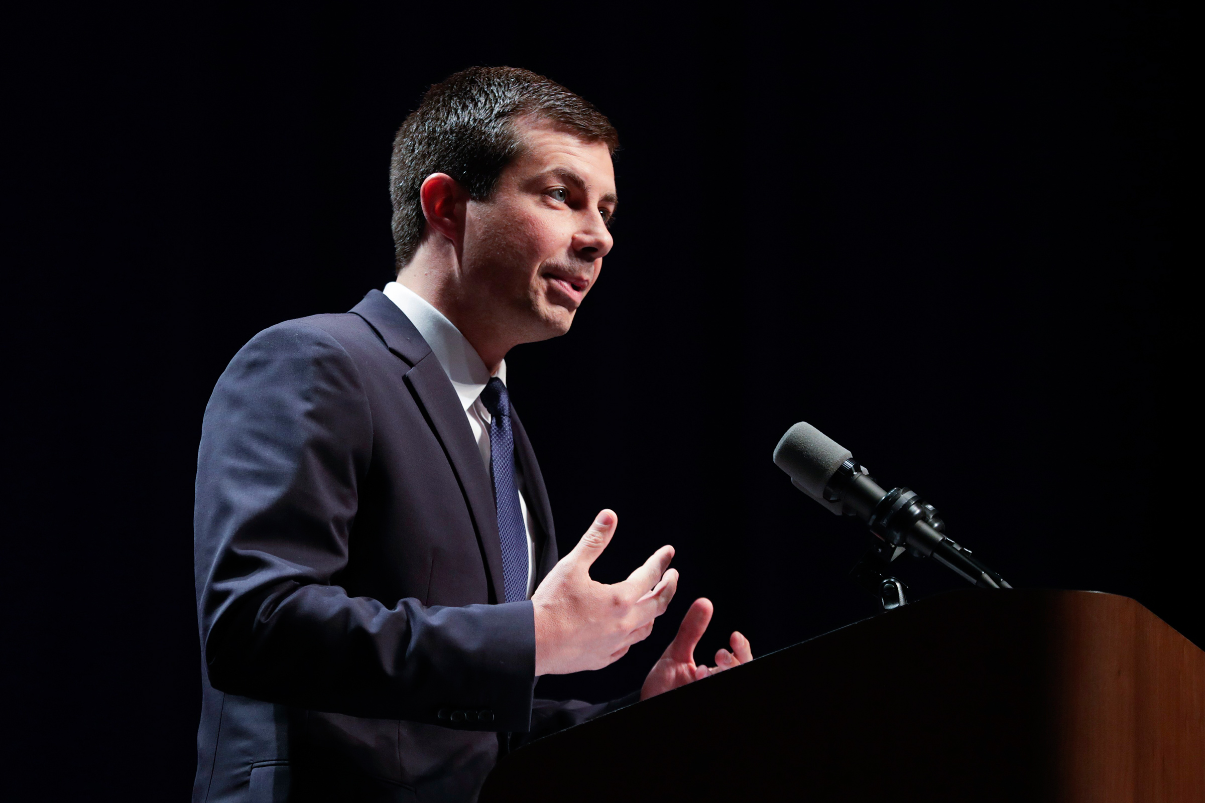 Democratic presidential candidate Mayor Pete Buttigieg delivers remarks on foreign policy and national security during a speech at the Indiana University Auditorium in Bloomington, Ind., June 11, 2019.