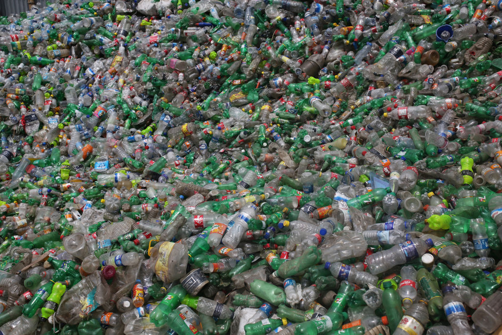 Plastic bottles seen in a recycling factory in Dhaka, Bangladesh on June 18, 2019.