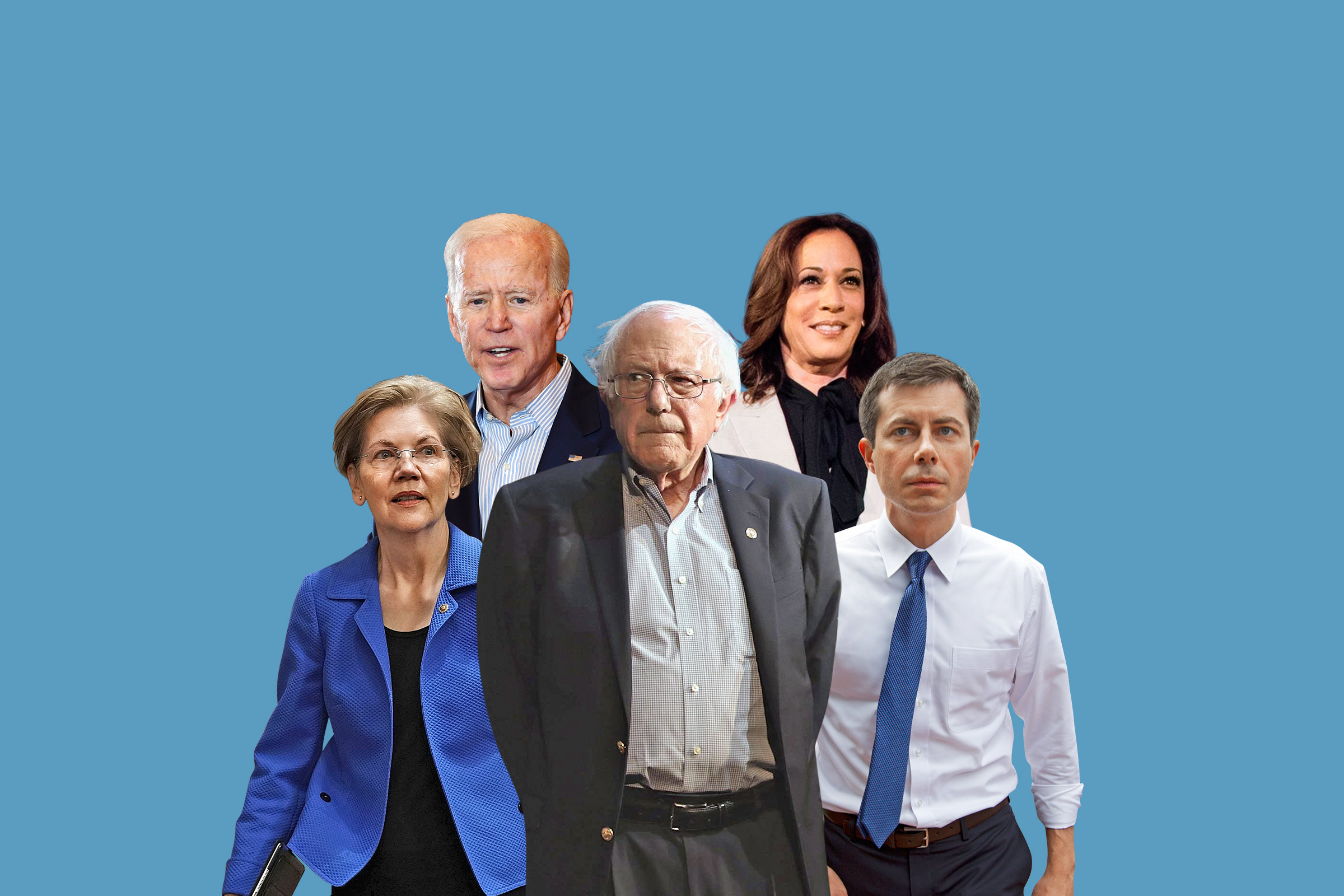 Among the crowded Democratic field are, clockwise from left, Elizabeth Warren, Joe Biden, Kamala Harris, Pete Buttigieg and Bernie Sanders.