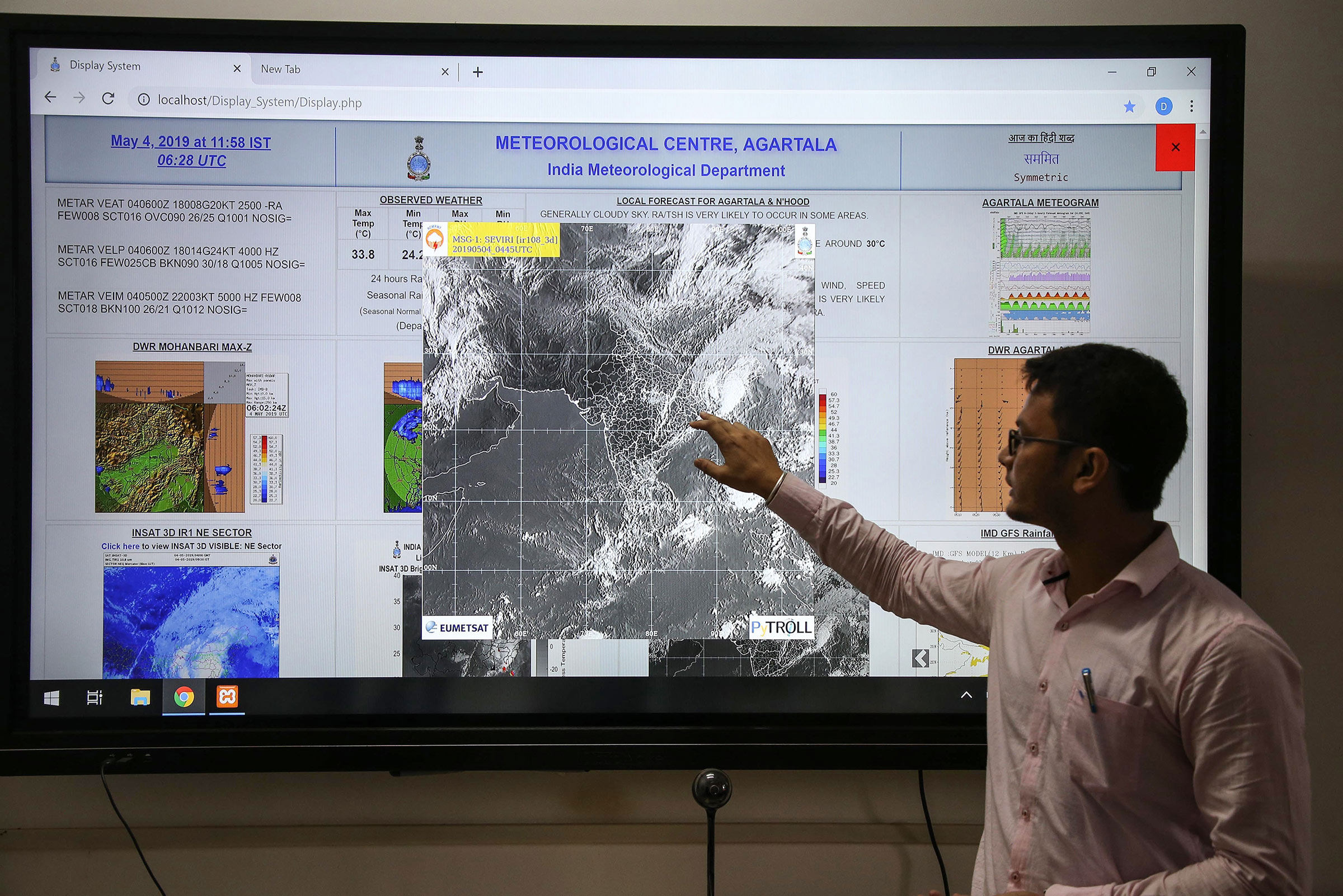 Indian scientist Sanjay Sarma monitors Cyclone Fani on May 4.