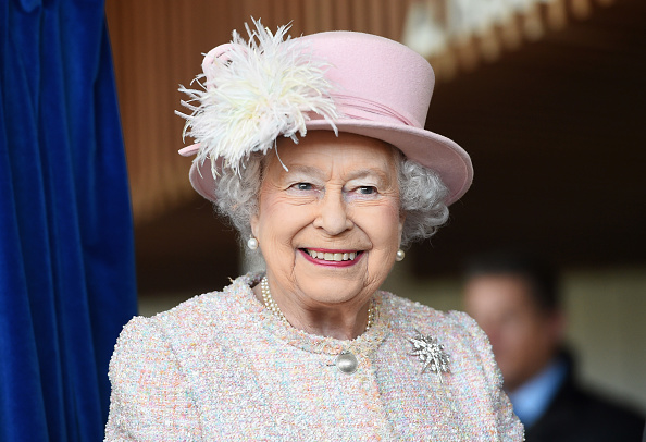 Queen Elizabeth II is seen at the Chichester Theatre while visiting West Sussex in Chichester, United Kingdom on November 30, 2017.