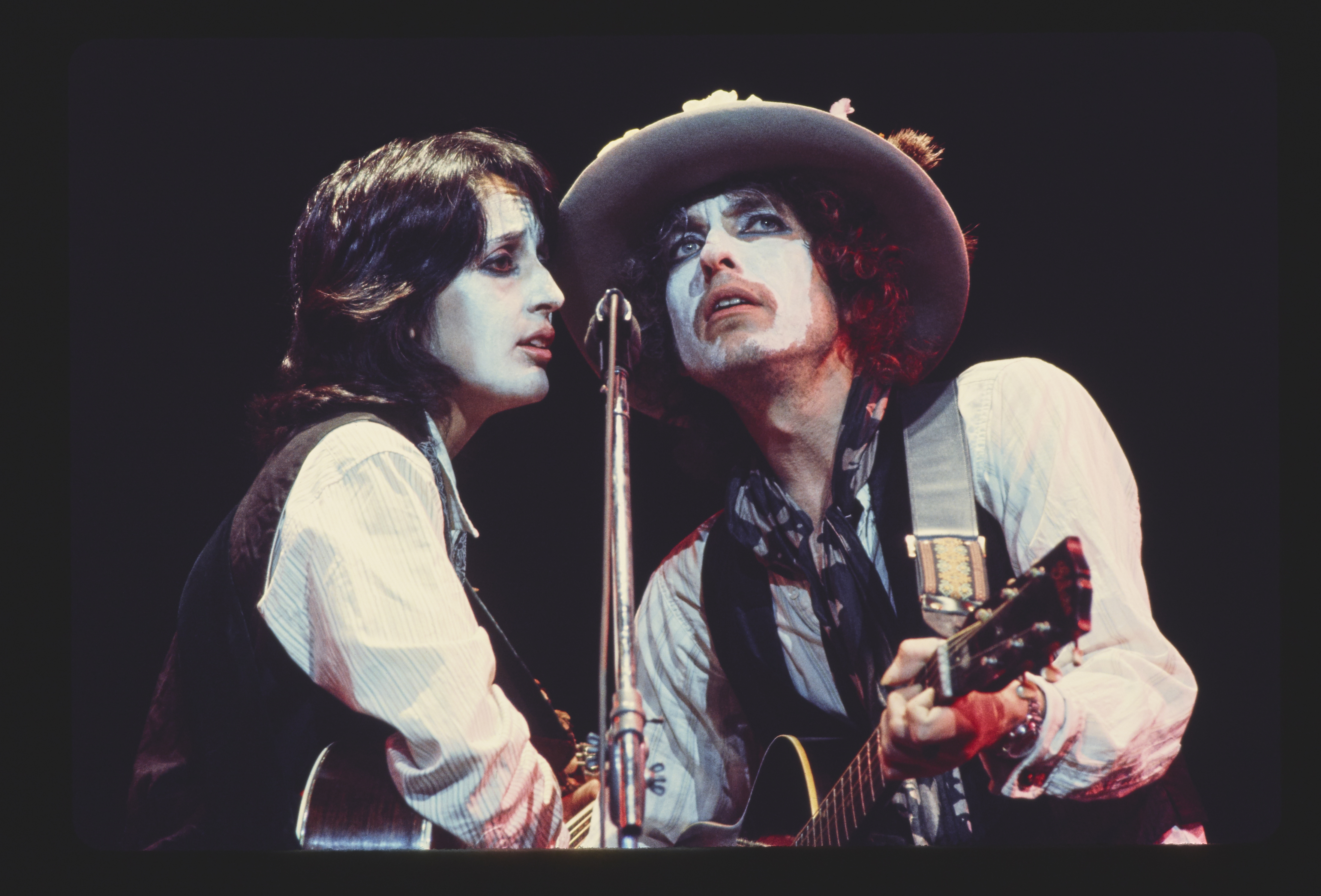 Joan Baez, left, and Bob Dylan, as seen in  Rolling Thunder Revue: A Bob Dylan Story by Martin Scorsese.