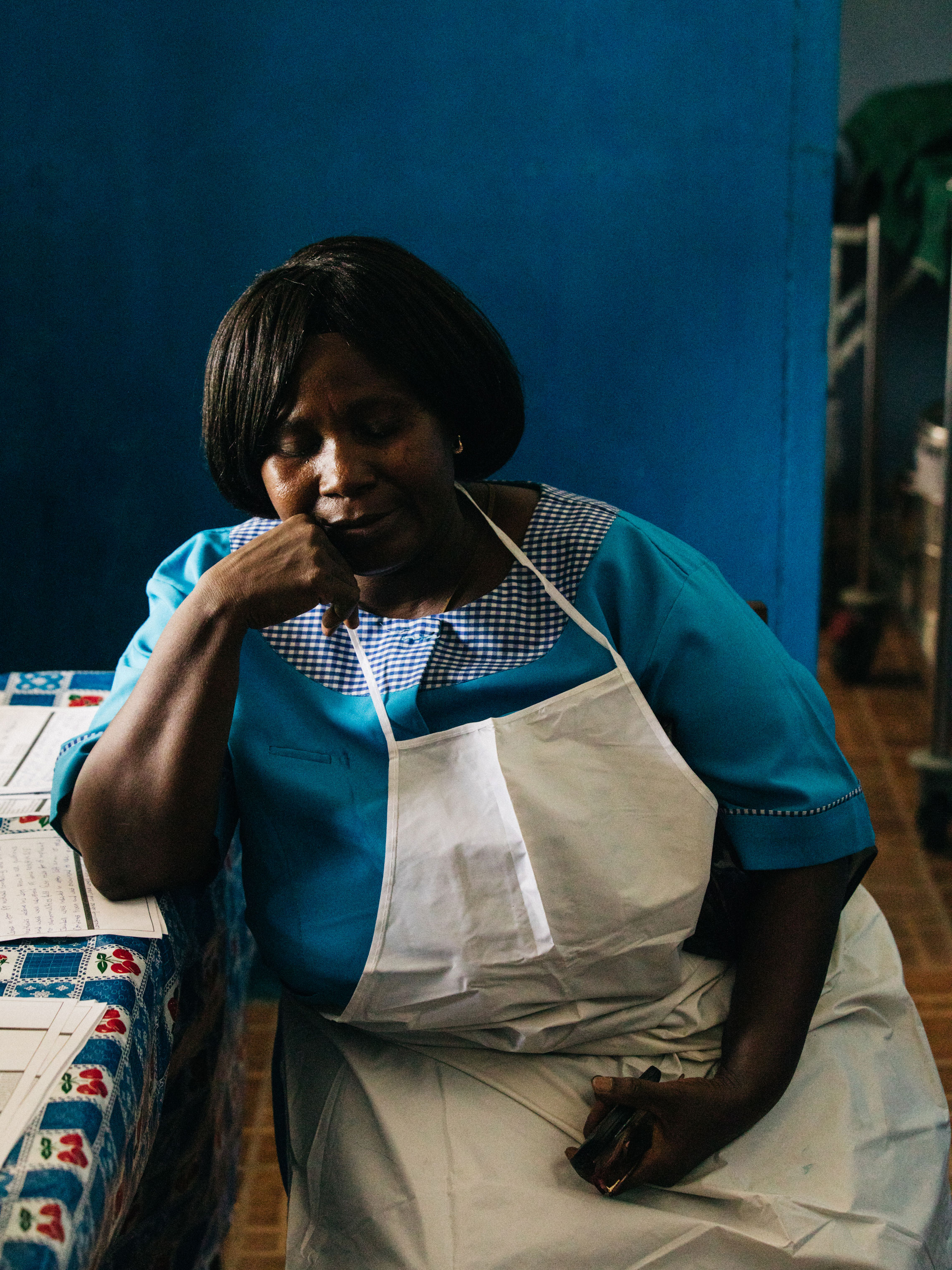 A nurse at Bonthe Hospital. The district – where nine doctors serve 200,000 people spread across several islands that are not easily reached – illustrates the extreme challenges facing maternal health in Sierra Leone. The nurse had spent the morning providing young women with contraceptive implants.