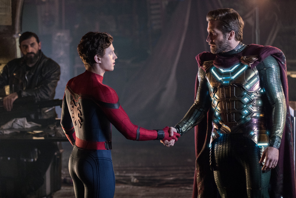 (l to r) Numan Acar, Tom Holland and Jacky Gyllenhaal in Spider-Man: Far From Home