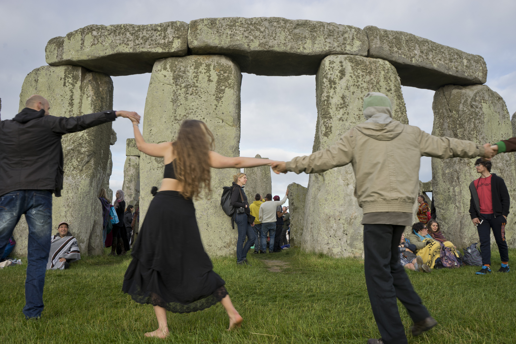 Revelers gather for summer solstice celebrations on June 21, 2016, at Stonehenge in Wiltshire, England.