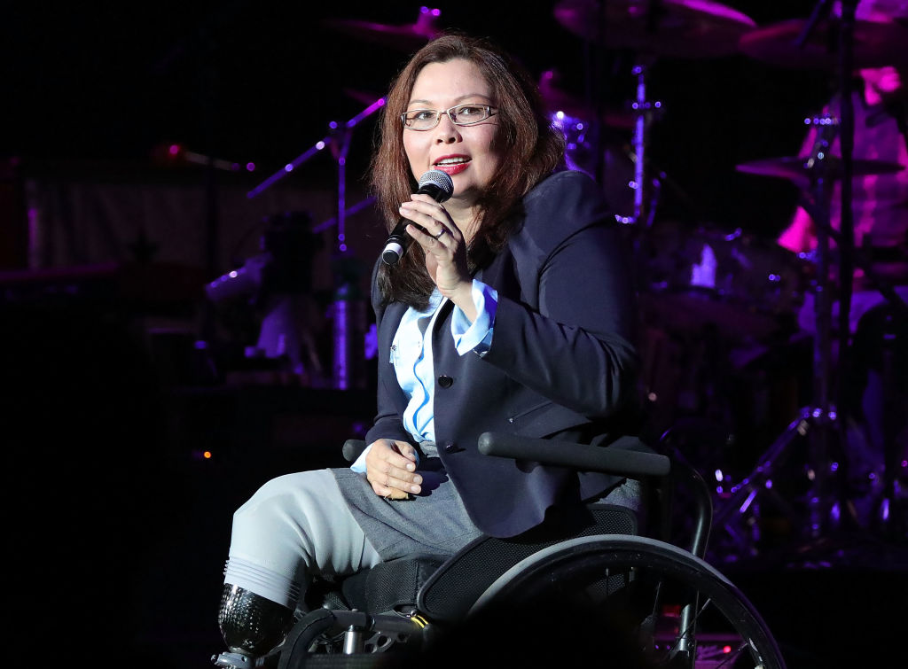 Sen. Tammy Duckworth speaks at the VetsAid Charity Benefit Concert at Eagle Bank Arena on Sept. 20, 2017 in Fairfax, Virginia.