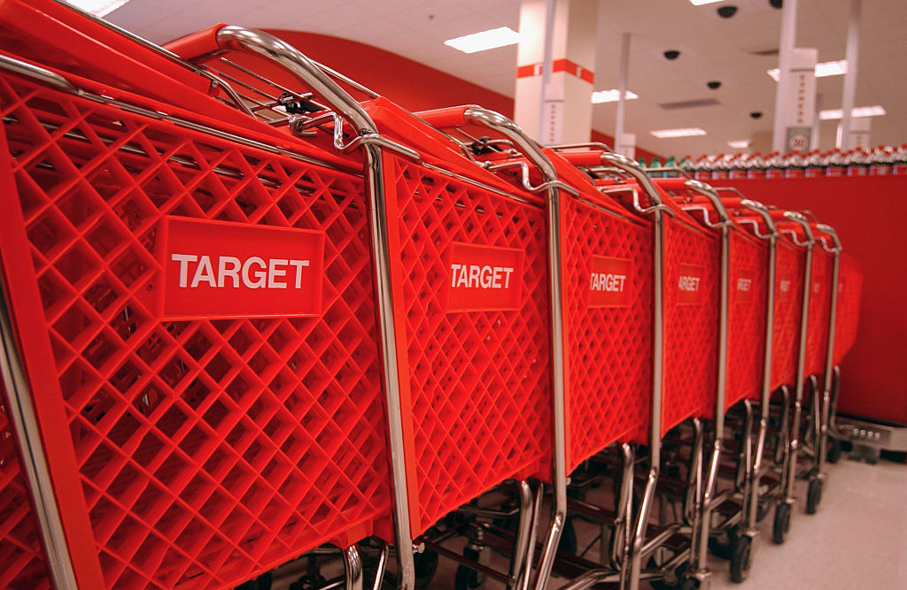 A line of shopping carts ready for business are seen at a Target store in downtown Brooklyn. (Photo by Ramin Talaie/Corbis via Getty Images)