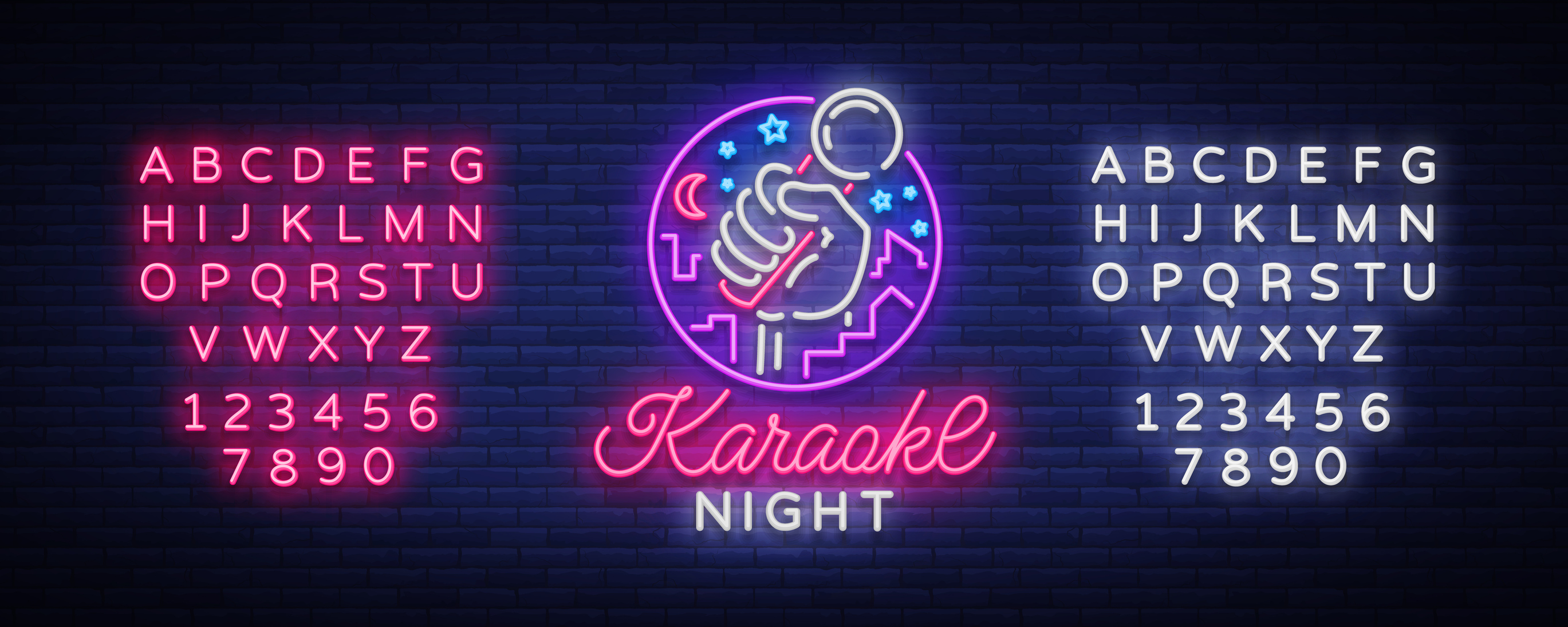 Karaoke night vector. Neon sign, luminous symbol, symbol, light banner. Advertising bright night karaoke bar, party, disco bar, night club. Live music. Design template. Editing text neon sign