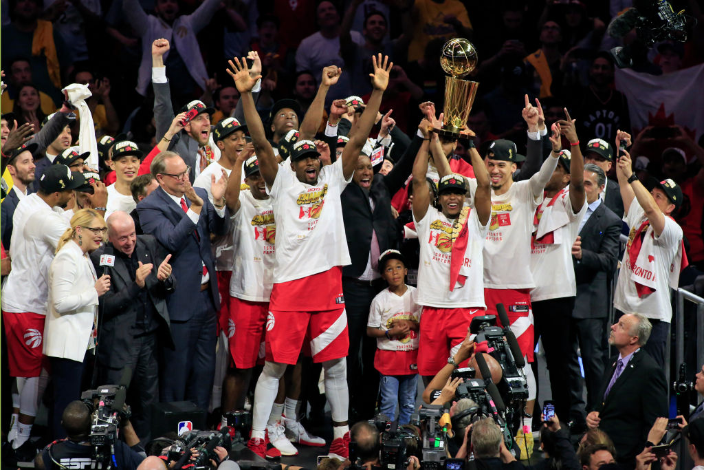 The Toronto Raptors celebrate  winning the NBA Championship after defeating the Golden State Warriors in Game Six of the NBA Finals at Oracle Arena in Oakland, Calif. on June 13, 2019.