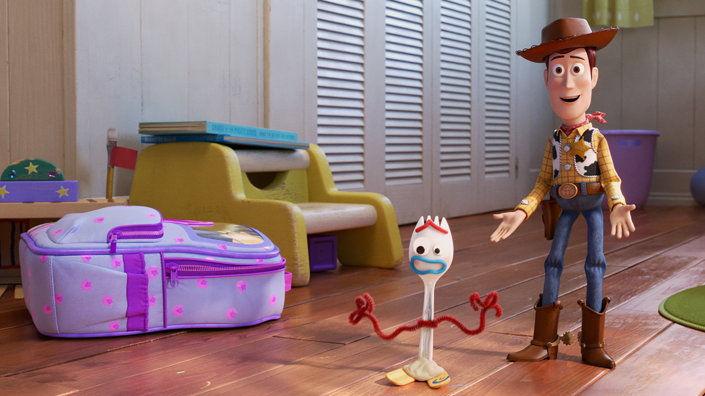 In 'Toy Story 4,' Woody (Tom Hanks) has got a friend—or something—in Forky (Tony Hale).