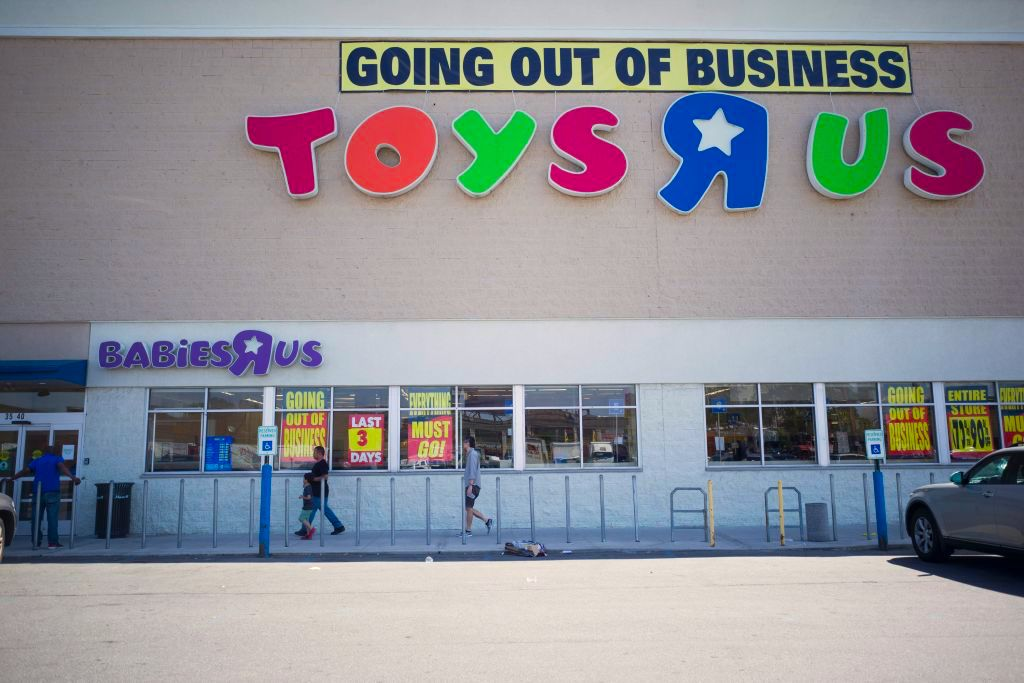 A 'Going Out Of Business' sign is displayed outside a Toys 'R' Us store on June 26, 2018 in New York City.