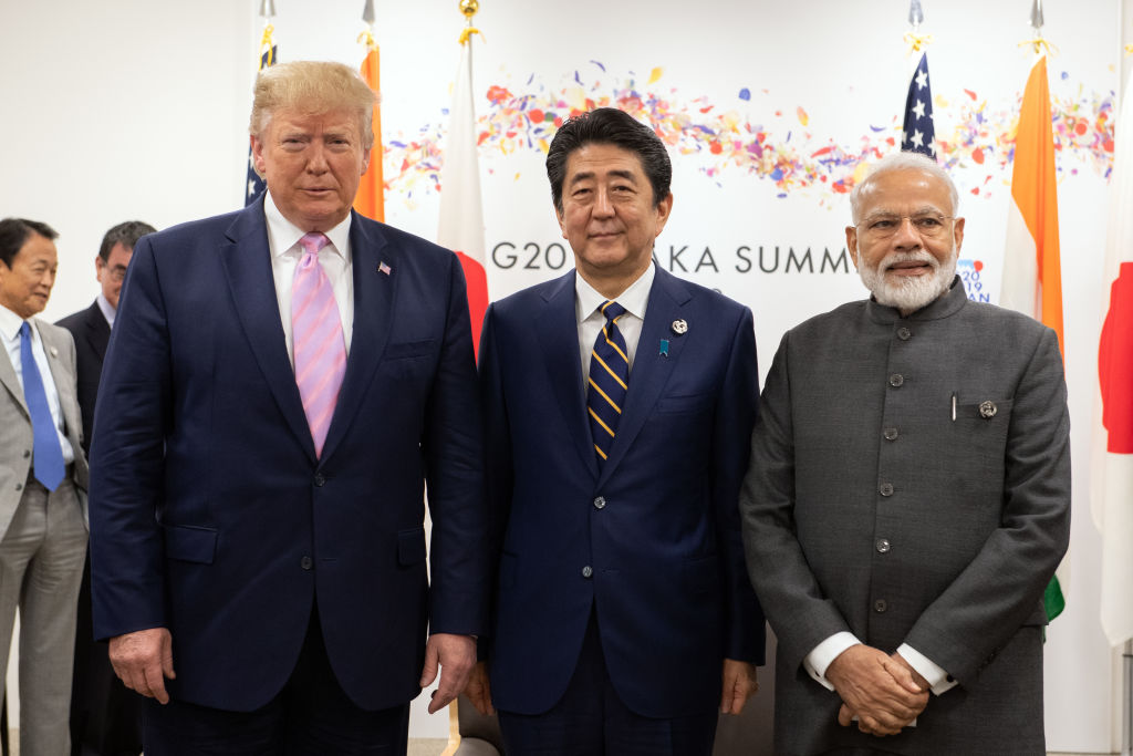 U.S President Donald Trump, Japan's Prime Minister, Shinzo Abe and India's Prime Minister, Narendra Modi, take part in a trilateral meeting on the first day of the G20 summit on June 28, 2019 in Osaka, Japan.