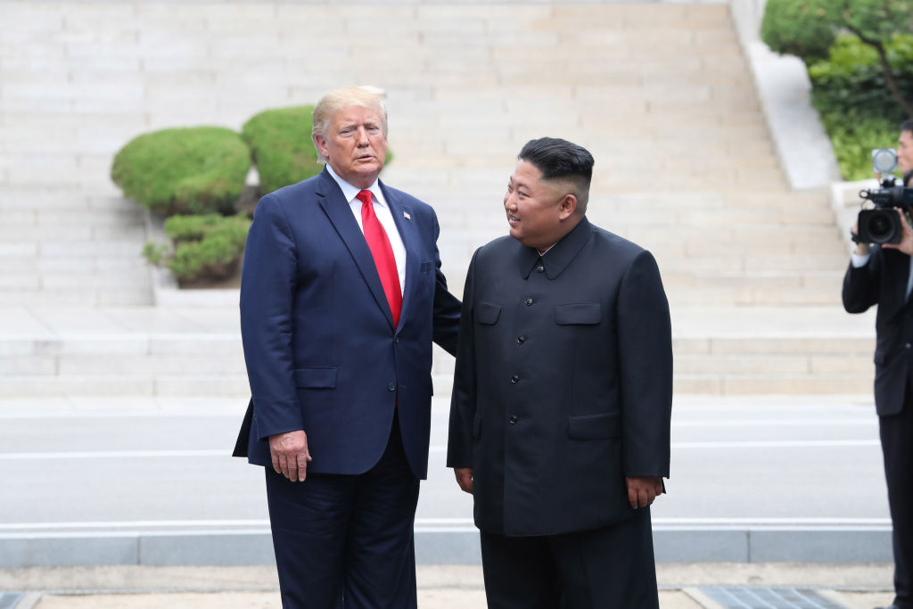 North Korean leader Kim Jong Un and U.S. President Donald Trump inside the demilitarized zone separating South and North Korea on June 30, 2019 in Panmunjom, South Korea.