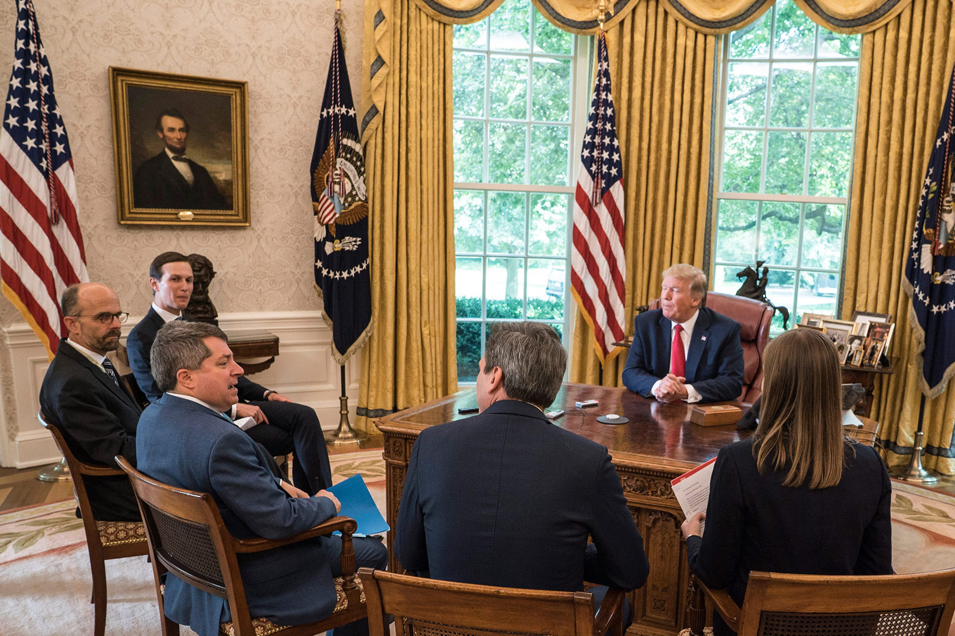The TIME team with President Trump and senior adviser Jared Kushner, who left at the start of the interview.