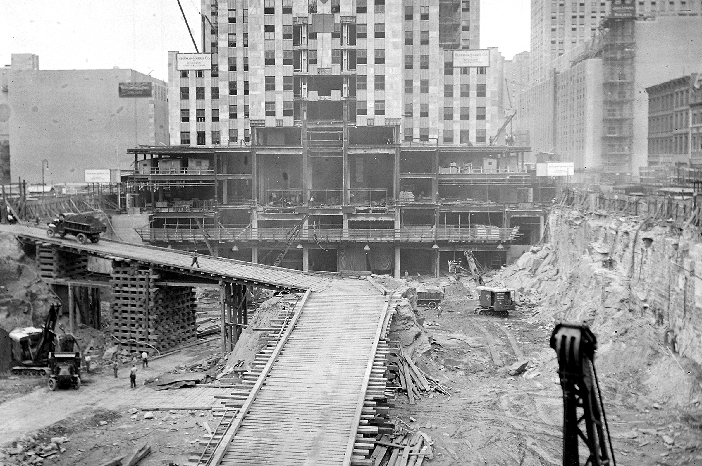 Excavation of site for Rockefeller Center construction on January 26, 1932. The site was formerly a botanic garden.