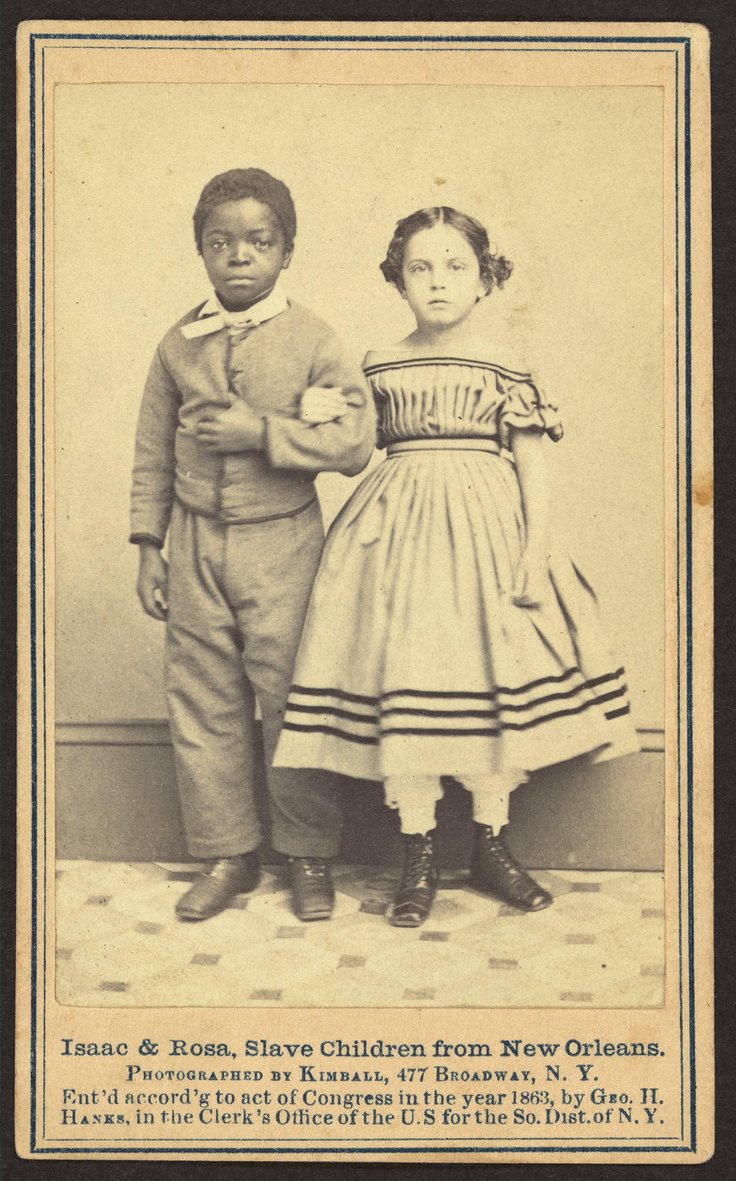 An image of  Isaac & Rosa, slave children from New Orleans,  in 1863. Their photo was among the source materials for the engraving that appeared in Harper's Weekly.