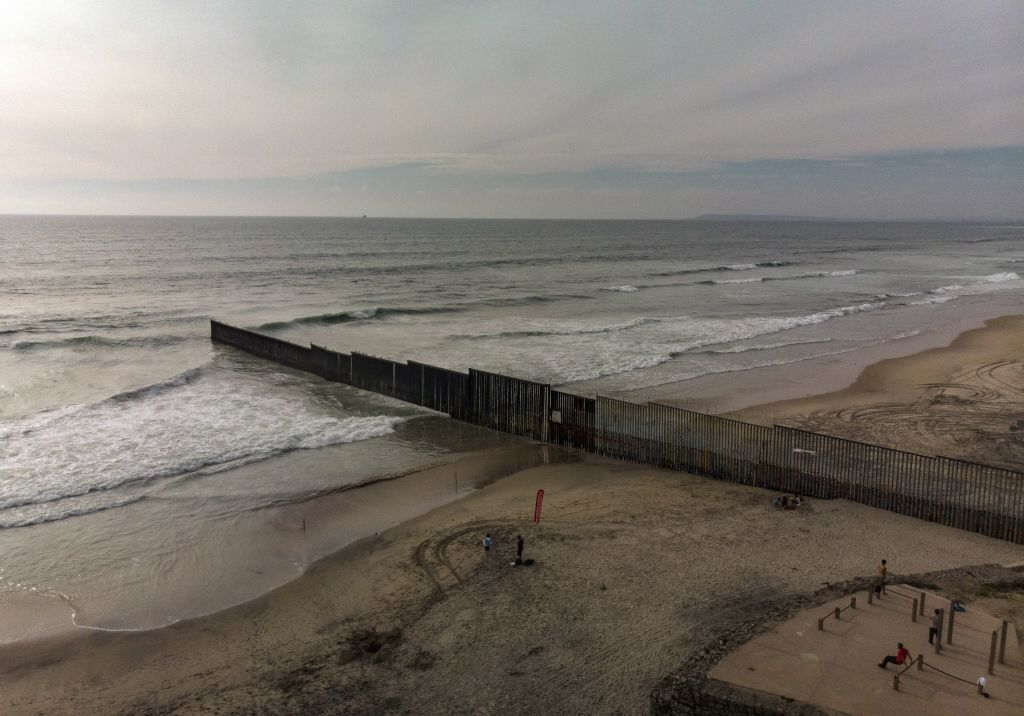 Aerial view of the section of the US-Mexico border fence seen from Playas de Tijuana, in Baja California state, Mexico, on March 26, 2019.