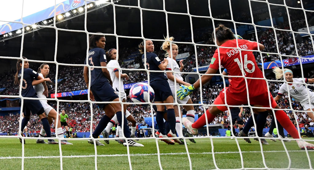 United States' forward Megan Rapinoe (unseen) scores her team's first goal the France 2019 Women's World Cup quarter-final football match between France and United States, on June 28, 2019, at the Parc des Princes stadium in Paris.