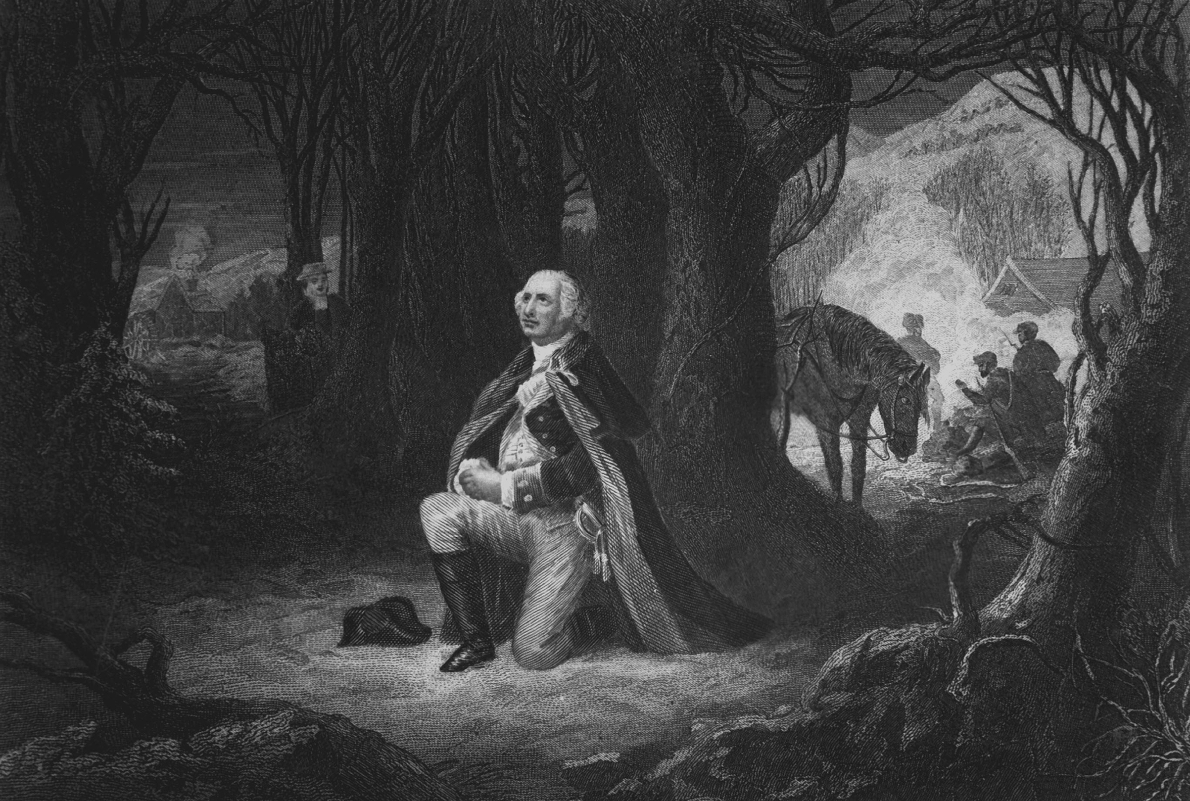 Engraving depicting General George Washington kneeling in prayer, while his soldiers camp in the background, at Valley Forge, Pennsylvania, during the winter of 1777. Copy of engraving by John McRae after a painting by Henry Brueckner, published 1866.