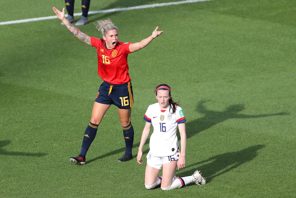 Spain's Maria Pilar Leon (left) appeals after USA's Rose Lavelle is fouled and awarded penalty kick Spain v United States - FIFA Women's World Cup 2019 - Round of Sixteen - Stade Auguste-Delaune II 24-06-2019.