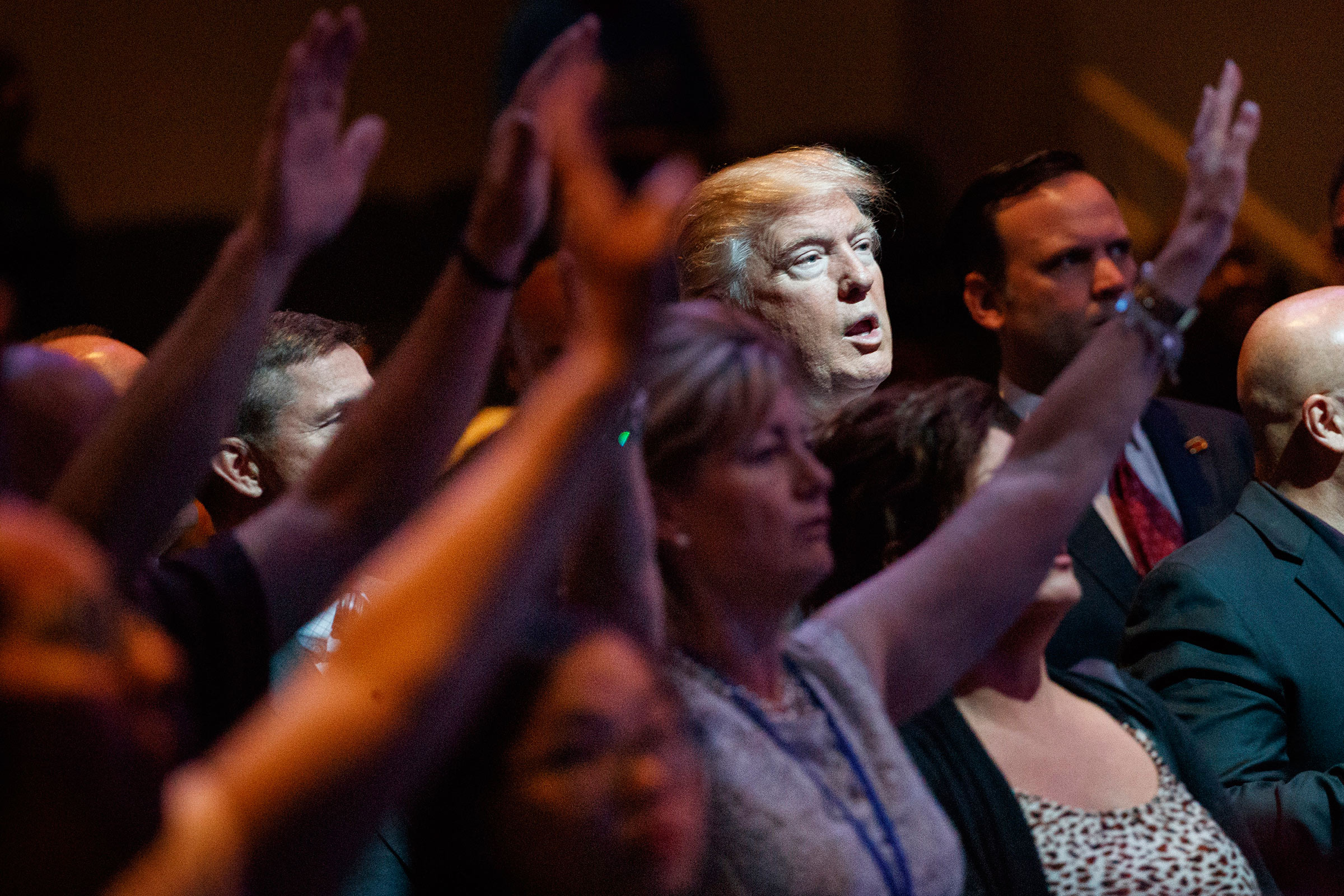 Then-candidate Trump at a 2016 service at the International Church of Las Vegas.