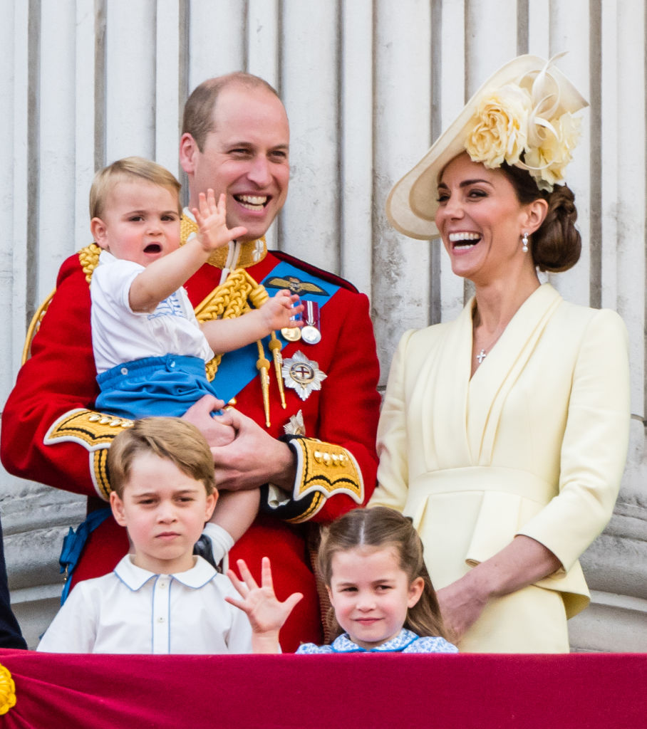 Prince Louis, Prince George, Prince William, Duke of Cambridge, Princess Charlotte and Catherine, Duchess of Cambridge appear on the balcony during Trooping The Colour, the Queen's annual birthday parade, on June 8, 2019 in London, England.