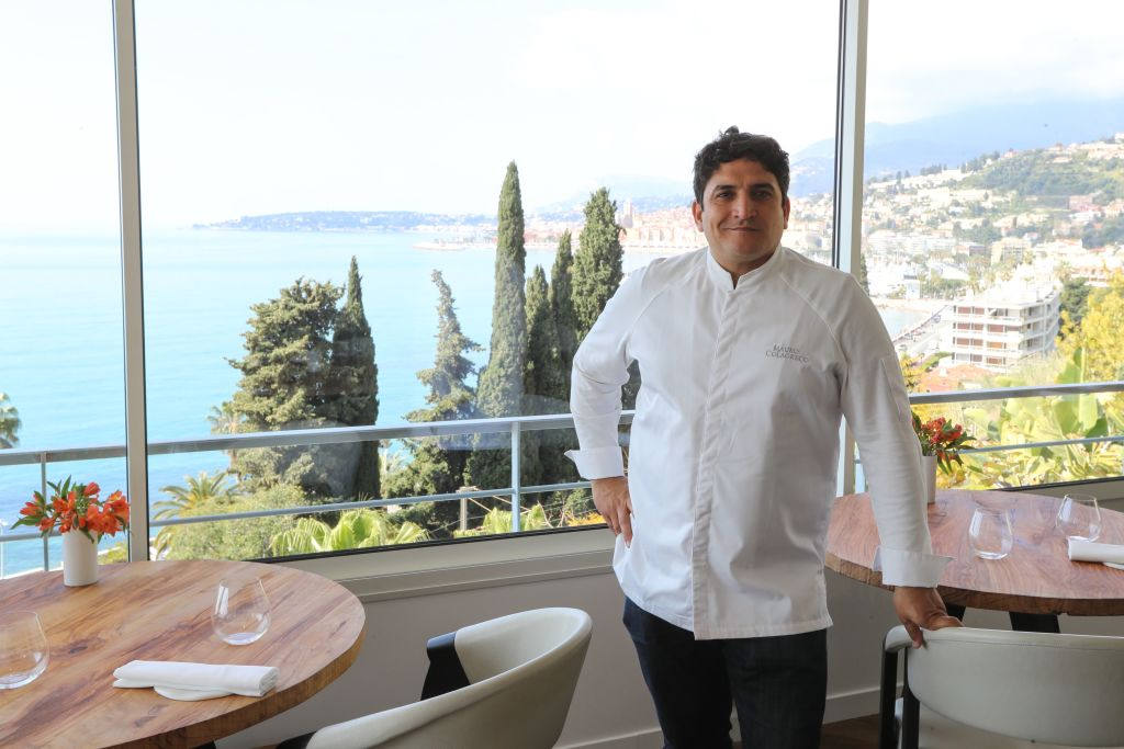 In this file photo, Italian-Argentinian chef Mauro Colagreco poses  in the  Mirazur  restaurant on the French riviera city of Menton on April 13, 2019.  Mirazur clinched the top stop on the World's Best Restaurants list this year.