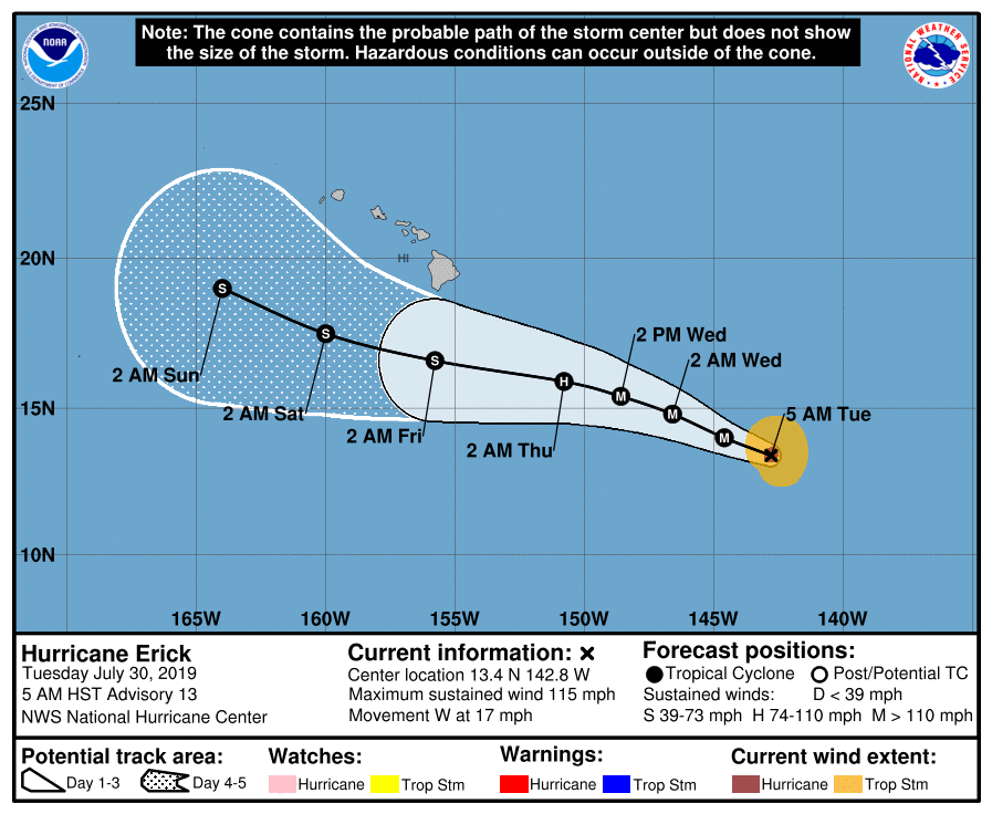Hurricane Erick is now a category three  major  hurricane, according to the National Weather Service.