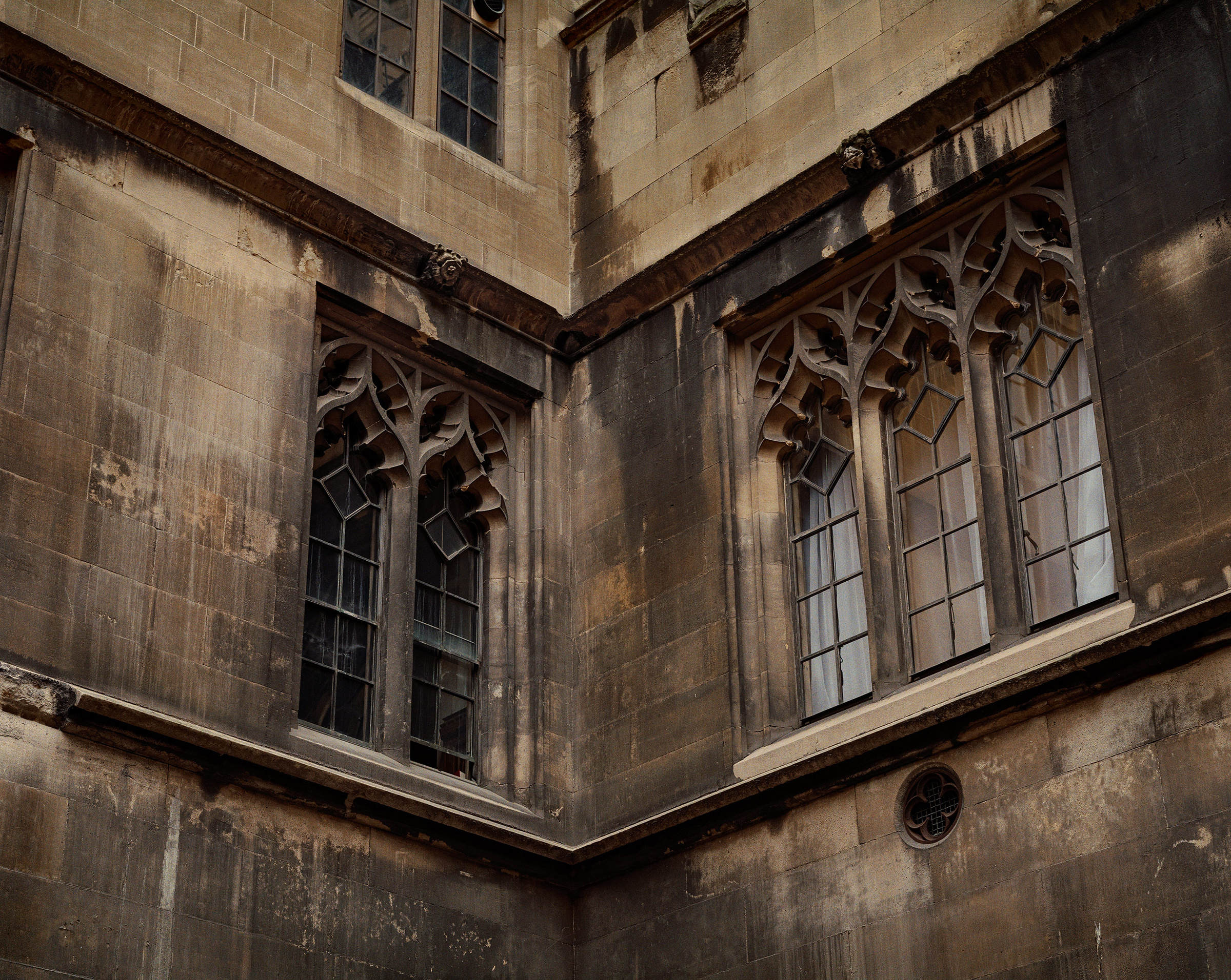 Blocks of masonry missing (bottom left), and blackened brickwork in the Palace of Westminster, London, on May 30, 2019.