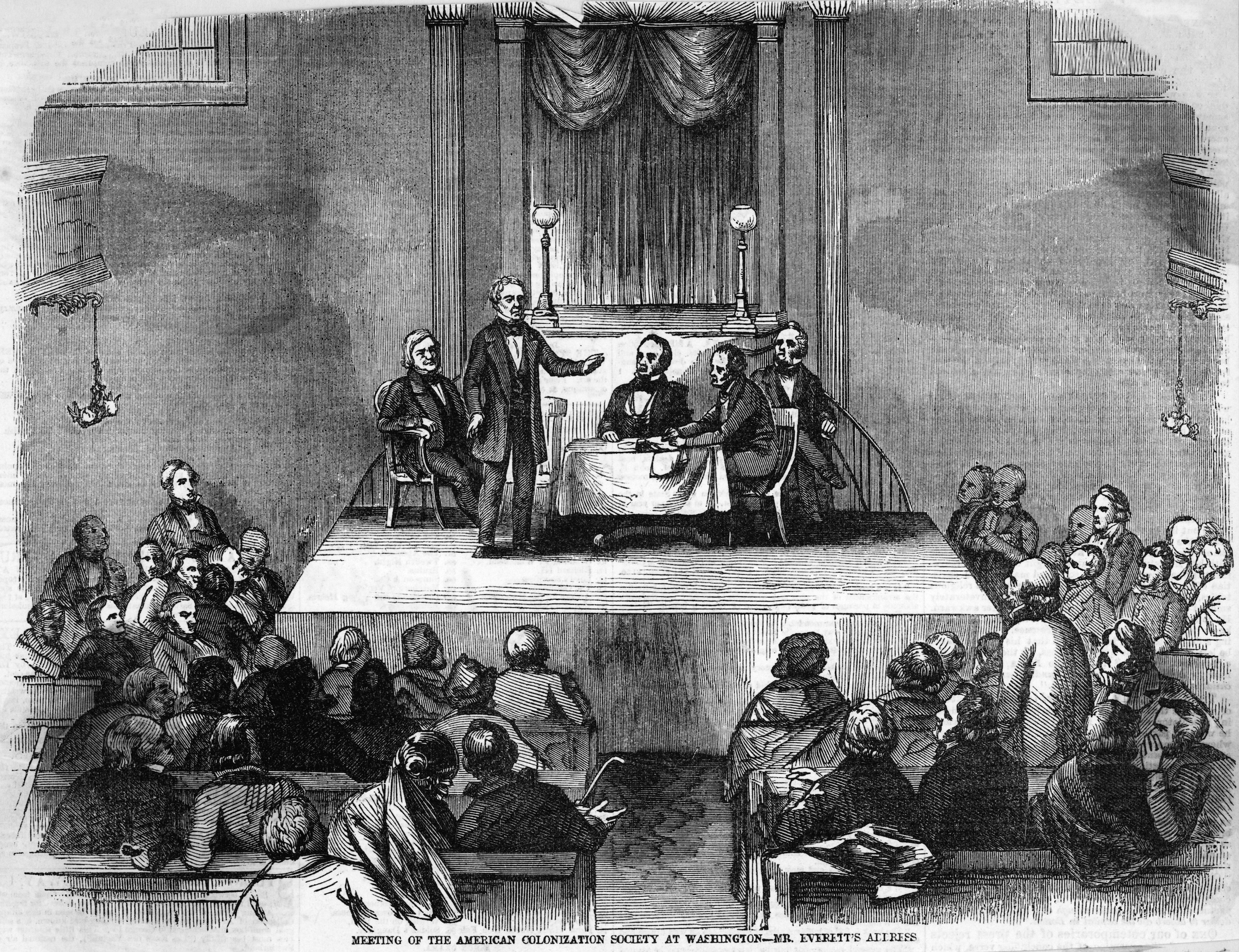 Meeting of the American Colonization Society at Washington.  Undated illustration.