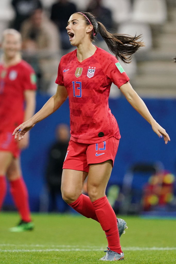 Alex Morgan of the USA celebrates her goal during the 2019 FIFA Women's World Cup France group F match between USA and Thailand at Stade Auguste Delaune on June 11, 2019 in Reims, France.