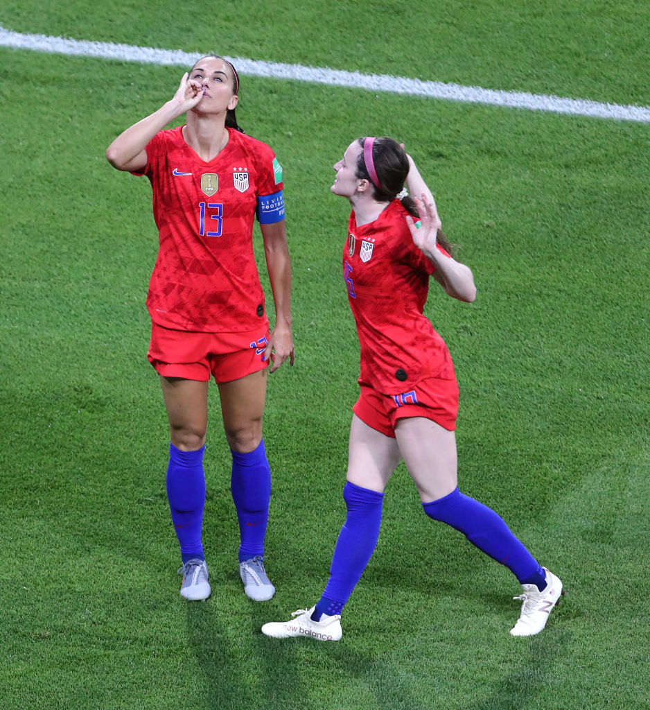 USA's Alex Morgan (left) celebrates scoring her side's second goal of the game during the FIFA Women's World Cup Semi Final match at the Stade de Lyon.