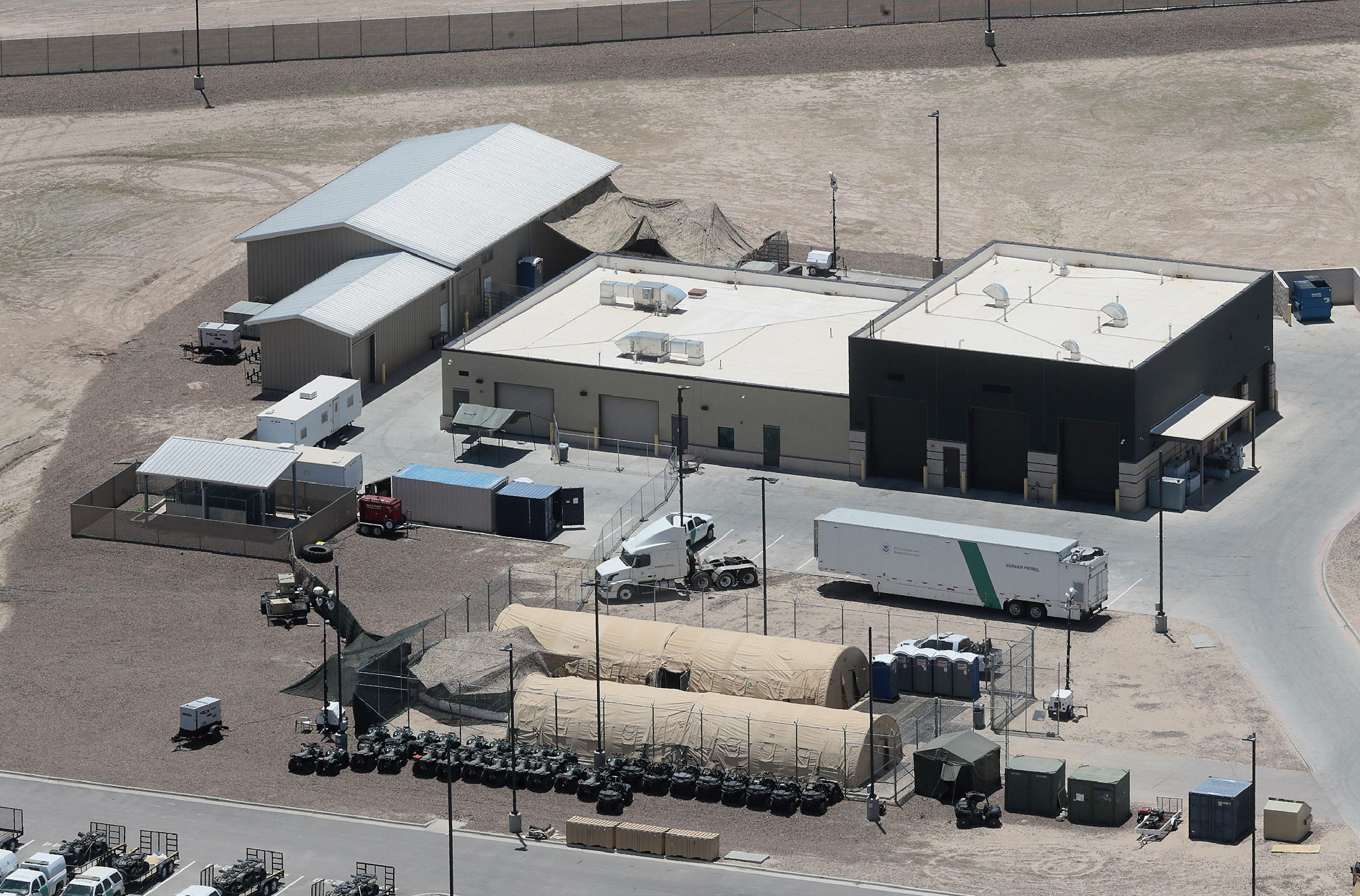 The Border Patrol Station in Clint, Texas, is being used to house unaccompanied migrant children